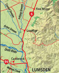 Mid Oreti River Map from the book